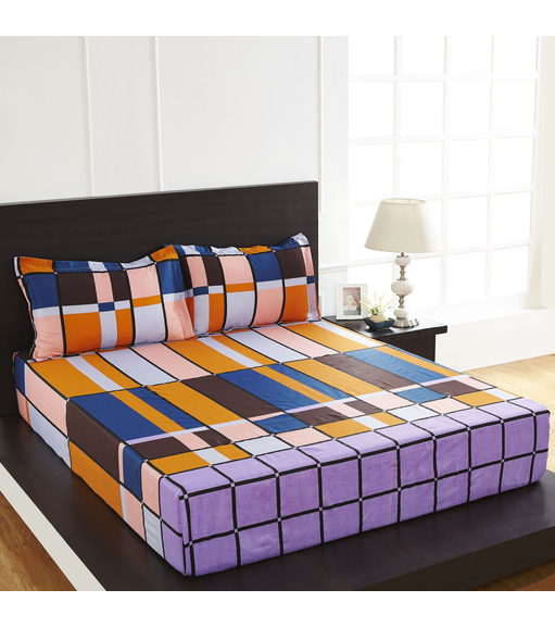 Arcade Brick Double Bed Sheet - @home By Nilkamal, Purple
