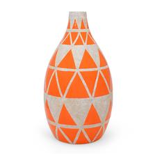 Medium Geometric 16X30CM Vase, Orange