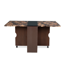Gypsy Dining Table with Marble Top, Dark Walnut