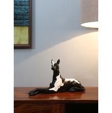 Sitting Dog Showpiece, Black & White