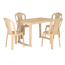 Nilkamal Shahenshah 4 Seater Dining Set, Marble Beige