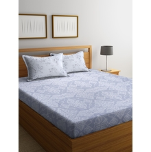 Damask Grid 250 cm x 274 cm Double Bedsheet, Purple