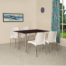 Napoli 4 Seater Dining Set - @home by Nilkamal, White