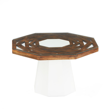 Malibu Center Table - @home by Nilkamal, White with Walnut