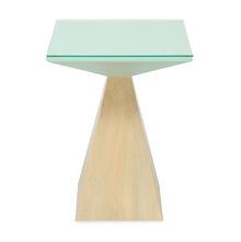 Spatial Pedestal Side Table, Beige & Green