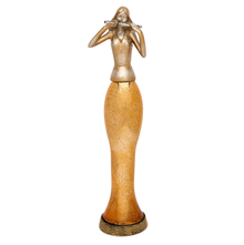 Lady with Flute LED Showpiece - @home by Nilkamal, Gold
