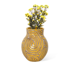 Urban Stout Vase - @home by Nilkamal, Yellow & Brown