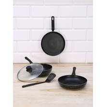Nonstick Aluminium Cookware 5 Pieces Set, Black
