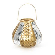 Mosaic 33 cm x 33 cm x 41 cm Cutwork Lantern - @home by Nilkamal, Gold