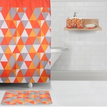 Promo Geometric Bath Set, Orange & Grey