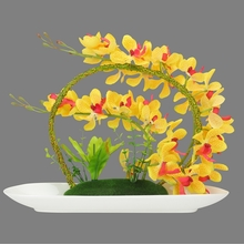 Yellow Orchid Floral Arrangement - @home by Nilkamal, Yellow