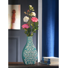 Floral Printed 20 cm x 20 cm x 33 cm Vase - @home By Nilkamal, Sea Green