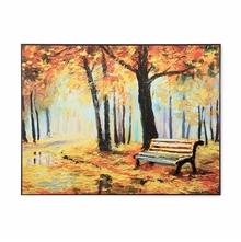 Bench Under The Tree 3D 45 cm x 60 cm Painting - @home by Nilkamal, Orange