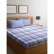 Checks 250 cm x 274 cm Double Bedsheet, Grey