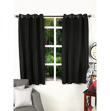 Texture 112 cm x 152 cm Window Curtain Set of 2, Black