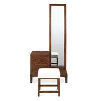 Trellis Dresser with Pouffe and Mirror, Cherry