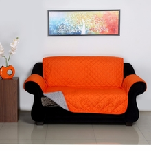 2 Seater Reversible Sofa Cover 179 cm x 223 cm - @home by Nilkamal, Orange & Grey