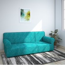 Jaquard Knit Sofa Cover, Sea Green & White, 3 seater