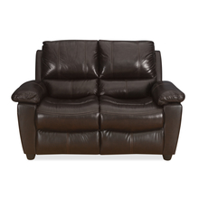 Ethan 2 Seater Sofa Half Leather, Russet Brown