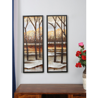 Aluminium 33X93 CM Autumn fall Painting, Set of 2