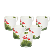 Tropical Juliet 230 ml Tea Cup Set of 6 - @home by Nilkamal, Green
