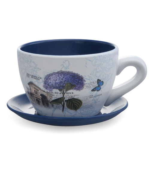 Garden Planter Mini Cup & Saucer- @home by Nilkamal, Indigo