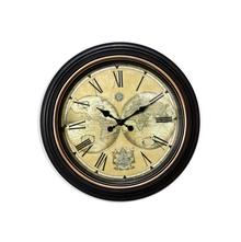 Antique Atlas Wall Clock - @home by Nilkamal, Black