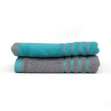 Hand Towel 40 x 60 cm Set of 2 - @home by Nilkamal, Sea Green & Grey