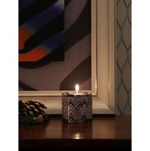 Chunk Fresh Cotton Pillar Small Candle, Black & White