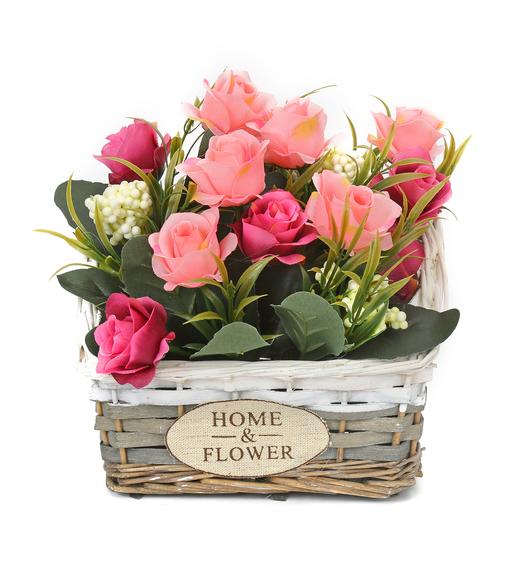 Rectangular Cane Basket Potted Plant - @home by Nilkamal, Lavender