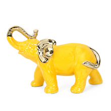 Standing Elephant 24.3 cm x 10.1 cm x 17.3 cm Showpiece - @home by Nilkamal, Yellow & Gold