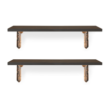 Romantic & Ares Small Wall Shelf Set of 2 - @home by Nilkamal, Walnut