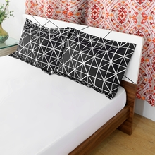 Grid 46 x 69 cm Pillow Cover Set of 2 - @home by Nilkamal, Black