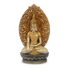 Sitting Buddha with Tree Showpiece - @home by Nilkamal, White