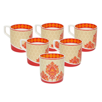 Bohemian Juliet 230 ml Tea Cup Set of 6 - @home by Nilkamal, Red