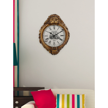 Lion Face 54 cm x 13 cm x 73 cm Wall Clock - @home by Nilkamal, White