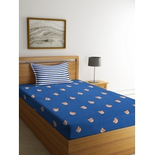 Teddy 150 cm x 225 cm Single Bedsheet, Navy Blue