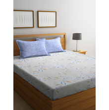 Floral & Creeper 250 cm x 274 cm Double Bedsheet, Grey