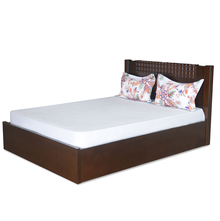 Rivera Queen Bed With Storage - @home by Nilkamal, Dark Walnut