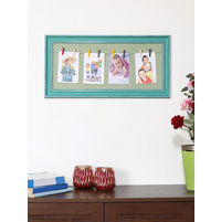 4 Pictures on Horizontal Thread Photo Frame, Sea Green