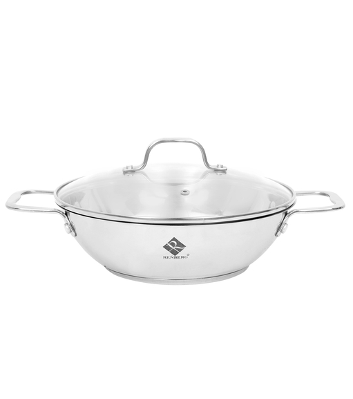 Bergner Stainless Steel Kadhai with Glass Lid, Silver