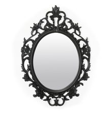 Antique Design Plastic 70 cm x 48 cm Mirror - @home by Nilkamal, Black
