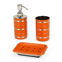 Stainless Steel 3 Piece Matte Finish Stripes Bath Set, Orange