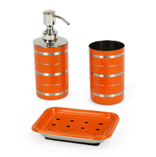 Stainless Steel 3 Piece Matte Finish Stripes Bath Set, Orange