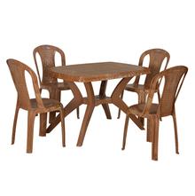 Nilkamal Shahenshah 4 Seater Kross Legged Dining Set, Pear Wood