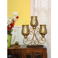 Aatish 3 Hurricanes 46X51CM Candle Stand, Gold