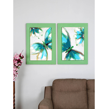 Butterfly 55X75 CM Set of 2 Painting, Green