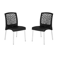Nilkamal Novella 19 Stainless Steel Chair - Set of 2, Iron Black
