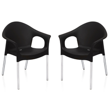 Nilkamal Novella 09 with Arm & without Cushion Chair Set of 2, Black