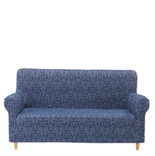 Jacquard Damask Knit 3 Seater Sofa Cover, Indigo
